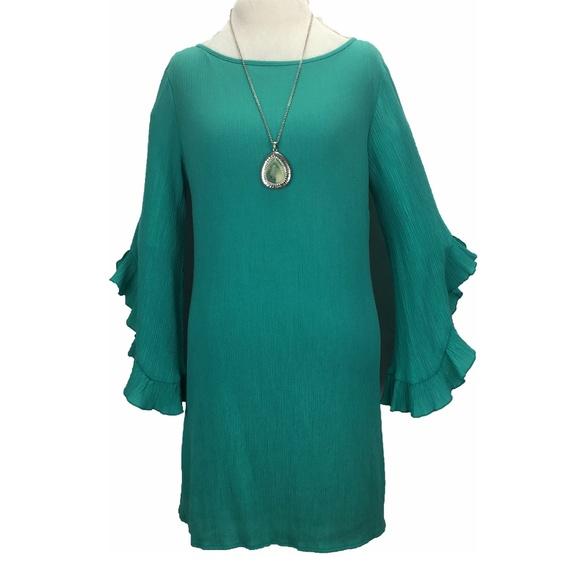 BASICALLY ME Dresses & Skirts - BASICALLY ME green crinkle dress
